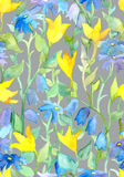 Seamless repeated floral wallpaper with garden flowers. Watercolor Royalty Free Stock Photo