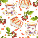 Seamless repeated pattern - tea cup, raspberry berries, dessert cakes. Watercolor Stock Photos