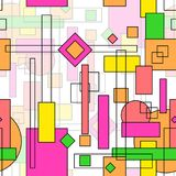 Seamless repeating background of colored squares, lines and stro. Kes.Vector Stock Illustration