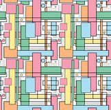 Seamless repeating background of colored squares, lines and stro. Kes.Vector Royalty Free Illustration