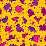 Seamless repeating background of hearts and stars. Vector stock illustration