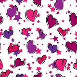 Seamless repeating background of hearts and stars. Vector vector illustration