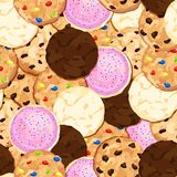 Cookie Pile Seamless Background with Chocolate Chip, Fudge, Sugar, Iced, Oatmeal Raisin Cookies. Seamless repeating background with a pile of chocolate chip royalty free illustration