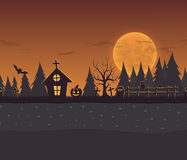 Seamless repeating cartoon background for halloween. Vector unending background with forest, owl, grave, the house and the moon Royalty Free Stock Image
