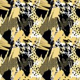 Seamless repeating  hand craft expressive ink pattern Royalty Free Stock Photo