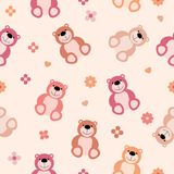 Seamless repeating illustration of children`s pink pattern of teddy bears. Vector seamless repeating illustration of children`s pink pattern of teddy bears Royalty Free Stock Photography