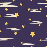 Seamless repeating kids pattern of violet night sky and yellow shape stars with milk clouds. Texture for christmas wrapping paper royalty free illustration