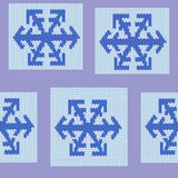 Seamless repeating knit snowflake pattern Stock Photography