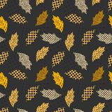 Seamless repeating pattern of autumn leaves and dots stock photography
