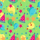Seamless repeating pattern of balloons, caps, confetti. Vector Royalty Free Stock Photo