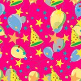 Seamless repeating pattern of balloons, caps, confetti. Vector Royalty Free Stock Photography