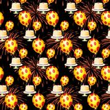Seamless repeating pattern with balls, cake and firework. Vector Stock Image