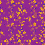 Seamless repeating pattern of blossoming flowers on a tree Royalty Free Stock Images
