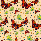 Seamless repeating pattern with colorful butterflies and circles Royalty Free Stock Image