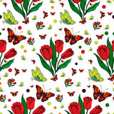 Seamless repeating pattern with colorful butterflies and tulips. Stock Images