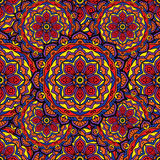 Seamless repeating pattern consisting of colored mandal. Royalty Free Stock Photo