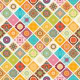 Seamless repeating pattern consisting of different mandalas Royalty Free Stock Image
