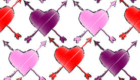Seamless repeating pattern consisting of hearts and arrows.Vecto Royalty Free Stock Photos