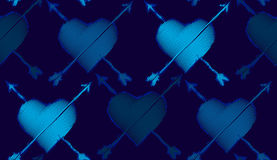 Seamless repeating pattern consisting of hearts and arrows. Stock Photo