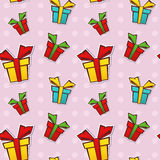 Seamless repeating pattern with gift boxes Royalty Free Stock Images