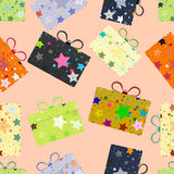 Seamless repeating pattern of gift boxes.Vector Royalty Free Stock Photos