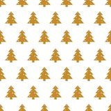 Seamless repeating pattern with gold Christmas trees on white background. Seamless repeating pattern with Christmas trees in gold on white background. Festive Stock Photography