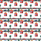 Seamless repeating pattern of hand drawn houses,. Cars and trees on a white background royalty free illustration