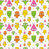 Seamless repeating pattern of painted owls. Seamless repeating pattern of painted Doodle colored owls royalty free illustration