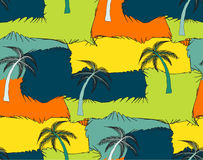 A seamless repeating pattern of palm trees and rectangles in the Stock Image