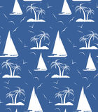 A seamless repeating pattern of palm trees and sailing ships.Vec Royalty Free Stock Photo