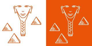 Seamless repeating pattern, signs of the face of an Egyptian man stock illustration