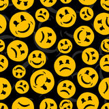 Seamless repeating pattern of smiling and sad emoticons.Vector Stock Photo