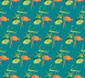Seamless repeating pattern from a variety of fish and algae. Vector Royalty Free Stock Photos