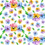 Seamless repeating spring pattern of beautiful watercolor single violet pansy viola flowers on a white background. There is an stock illustration