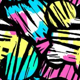 Seamless repeating textile ink brush strokes pattern in doodle g Stock Images