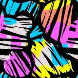 Seamless repeating textile ink brush strokes pattern in doodle g Royalty Free Stock Photo