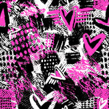Seamless repeating textile ink brush strokes pattern in doodle g Stock Photography