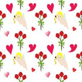 Seamless repeating Valentine`s Day illustration stock photo
