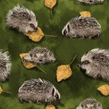 Autumnal hedgehoges walking on green grass covered with birch tree leaves. Cute and funny rodents. Seamless repetition pattern. Illustration perfect for vector illustration