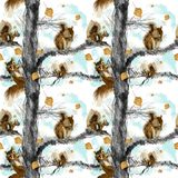 Autumnal squirrels sitting on tree, covered with falling golden birch tree leaves. stock illustration