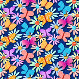 Seamless repetitive pattern with butterflies Stock Image