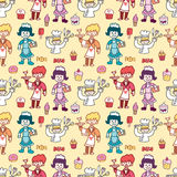 Seamless restaurant pattern Royalty Free Stock Photos