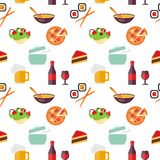 Seamless restaurant pattern Stock Images