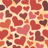 Seamless retro All Lovers Day pattern with color hearts Stock Photos