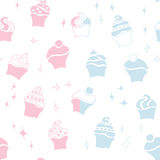 Seamless retro baby cupcake pattern Royalty Free Stock Photography