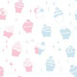 Seamless retro baby cupcake pattern. Seamless retro baby boy and girl cupcake pattern Royalty Free Stock Photography
