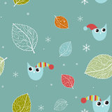 Seamless retro background with cute birds and flowers Stock Images