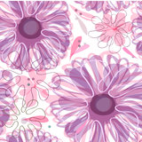 Seamless retro background with cute flowers Stock Photography
