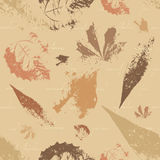 Seamless retro background with leaves Stock Photos