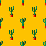 Seamless retro cactus plants for the home illustration background pattern in vector Royalty Free Stock Images